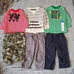 Boy 12 mth FALL lot new old navy pants shirts red